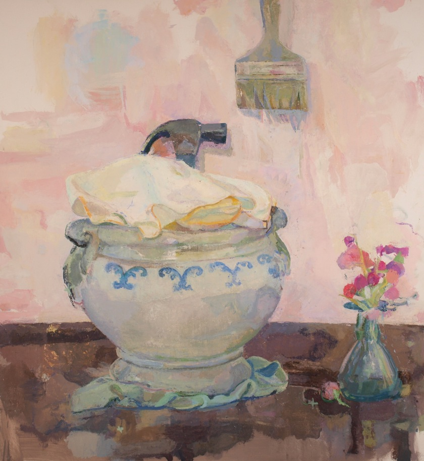 "Xico Greenwald, Tureen, Hammer, Brush, 2010–11. Oil on canvas over panel, 52""x48"""