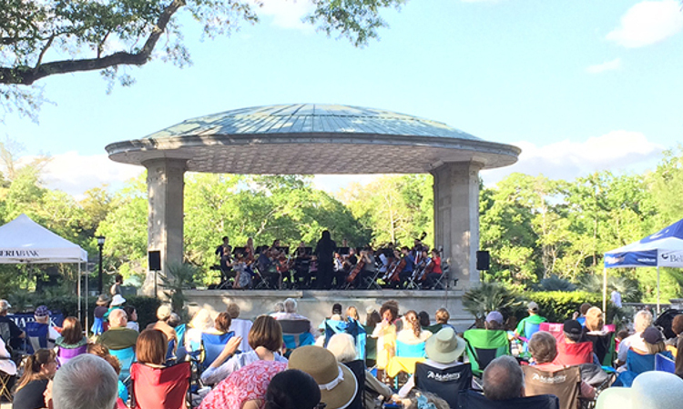 Loyola Ensemble performing at the Newman Bandstand