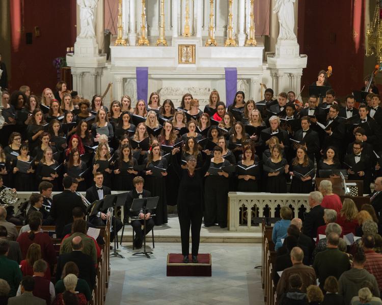 Choir performing Christmas at Loyola