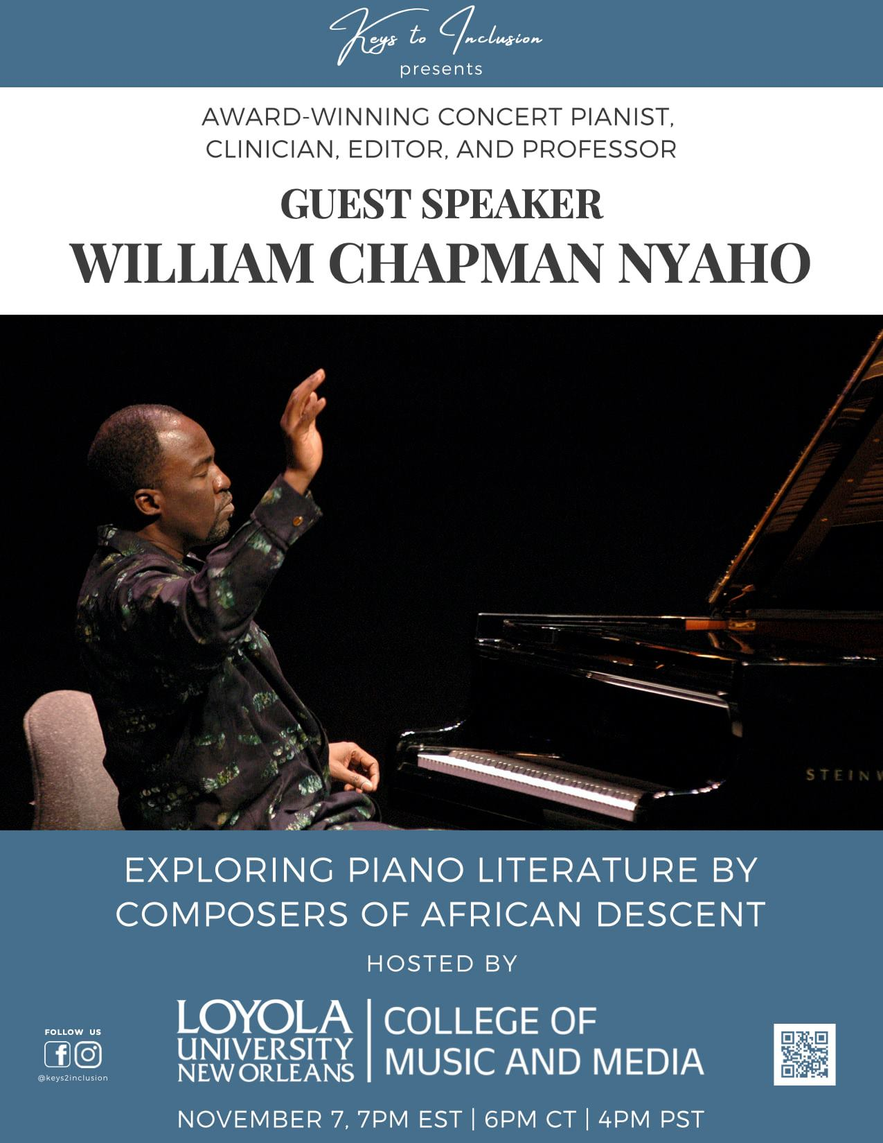 Flyer for William Chapman Nyaho: Exploring Piano Literature by Composers of African Descent