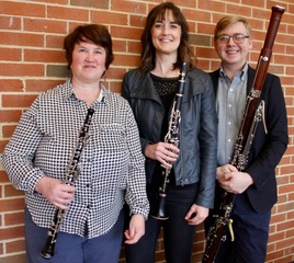 Michelle Vigneau, Associate Professor of Oboe; Robyn Jones, Associate Professor of Clarinet; and Daryn Zubke, Assistant Professor of Bassoon