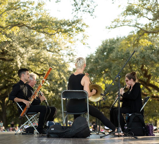 Loyola Faculty Woodwind Quintet, performing in Audubon Park