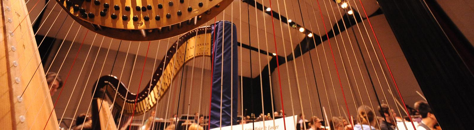 A close up strings of a harp in a concert with loyola students playing in the background