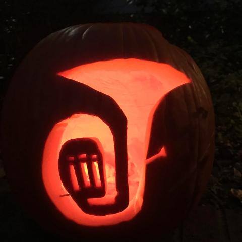 Jack-o-lantern carved with a tuba