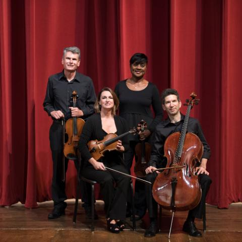 Bruce Owen, viola, Amy Thiaville, violin, Rachel Jordan, violin, and David Rosen, cello