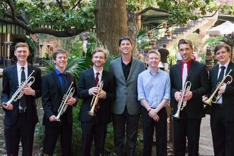 Dr. Nick Volz with the trumpet ensemble at the 2018 National Trumpet Competition