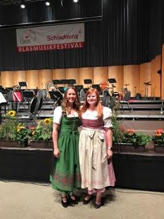 Dr. Weren and Kiley Pohn ('18) in traditional dirndls